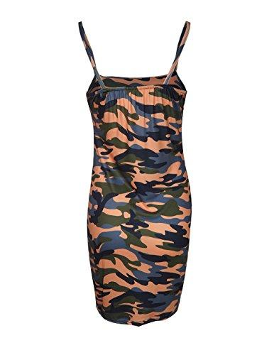 Up Vestiti da Arancia Abito a Cocktail Estivo Donna Militari Vestito Pin JackenLOVE Sexy Festa Tubino Mini Partito Moda pxq7fHxw