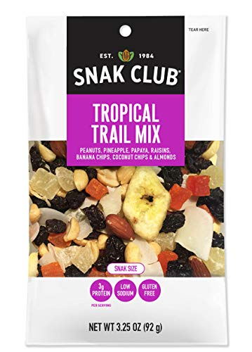 Snak Club Tropical Trail Mix, Gluten Free, Non-GMO, 3.25-Ounces, 12-Pack
