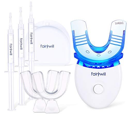 Ionic White Tooth - Teeth Whitening Kit Dental Teeth Whitener Removes Stains Effectively, Non Sensitive Safe for Enamel, Led Light with 5 Bulbs, 3×3ml Gel Syringes