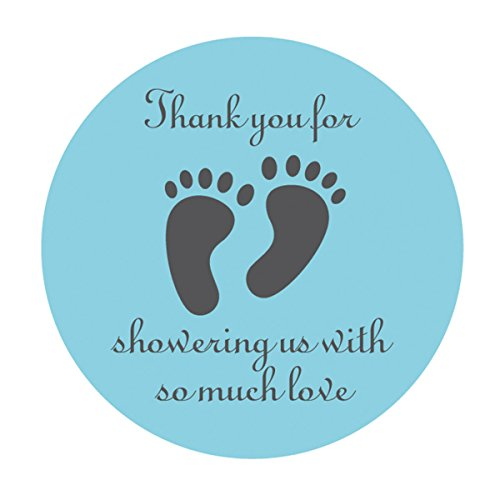 - MAGJUCHE Blue Little Feet Baby Shower Stickers, 2 Inch Thank You for Showing Us, Boy Baby Shower Party Favor Labels, 40 - Pack