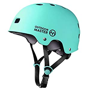 OutdoorMaster Skateboard Helmet – CPSC Certified Lightweight, Low-Profile Skate & BMX Helmet with Removable Lining – 12 Vents Ventilation System – for Kids, Youth & Adults