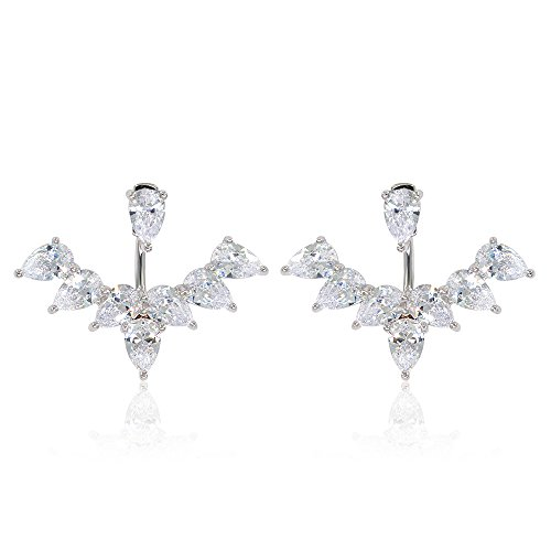 Marquise & Round Brilliant Cubic Zirconia Floral Front Back Jacket Earrings Plated in White Gold (Cubic Marquise Zirconia Stud)