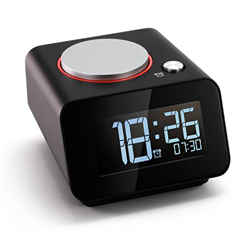 Homtime Bedside Alarm Clocks with Dual USB Charging Port for iPhone X/iPhone 8,Small Bedroom Alarm Clock,Snooze,Dimmable Black