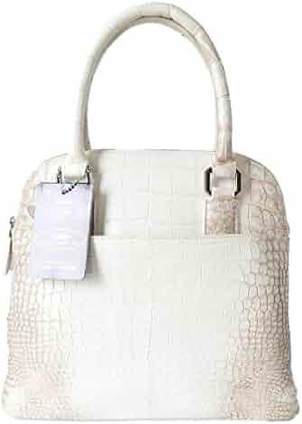 Authentic M Crocodile Skin Womens Belly Leather Zipper Bag Tote Purse  Handbag 7bad37a975fd8