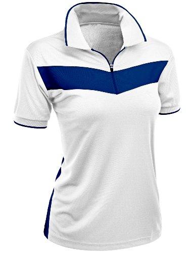 Women's 2 Tone Pattern Coolmax Fabric Polo T-Shirt WHITE XL