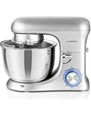 Albohes Food Stand Mixer, 1500W 4 Quart Dough Blender with Stainless Steel Bowl, Die Casting Aluminum Body, Kitchen Dough Hooks/Whisk/Flat Beater, Noise Less Than 70dB, Last Over 10 Years