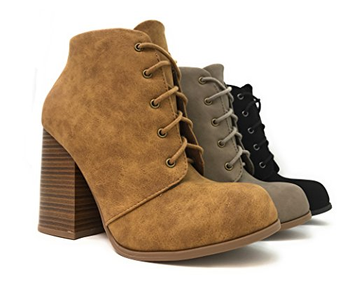 Suede Chunky Ankle MVE Shoe Women's Tan High Dispu Boots Heel Faux Shoes Stacked Iqpgrfqw
