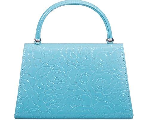 Embossed Blue Light handle Light Bag Top Turquoise Turquoise Flower qRtXx