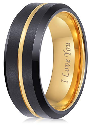 LaurieCinya Tungsten Carbide Ring Men Women Wedding Band Engagement Ring 8mm Comfort Fit Engraved 'I Love You' Gold