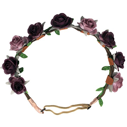 Mia Flower Halo Headband- Beautiful Ombre Pink To Purple, Pretty Roses-Beige Adjustable Strap-One Size Fits All-9 Flowers-Each Measures 1 Inch In Diameter (1 piece per - Fair Fashion Macy's