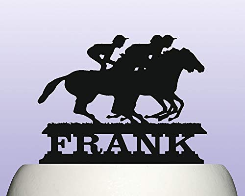Personalised Acrylic Jockey Rider Horse Racing Steeplechase Birthday Cake Topper -