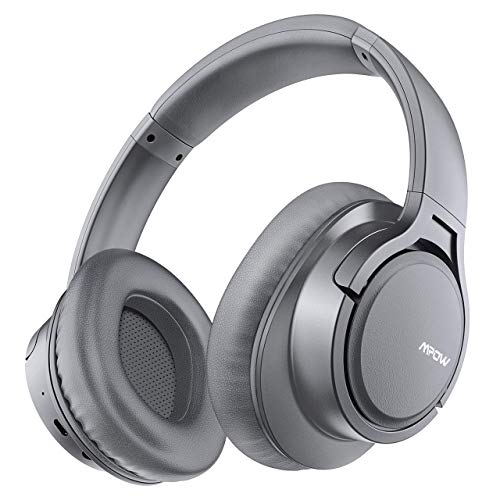 Mpow H7 Bluetooth Headphones Over Ear, 18 Hrs Comfortable Wireless Headphones w/Bag, Rechargeable HiFi Stereo Headset, CVC6.0 Headphones with Microphone for Cellphone Tablet (Light Gray)