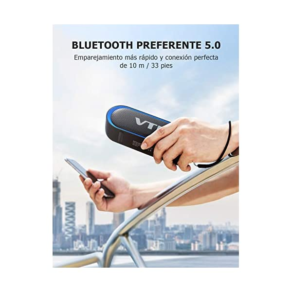 VTIN R4 Enceinte Bluetooth V5.0, Haut Parleur Bluetooth Portable 10W, Haut-Parleur Waterproof, 24H de Lecture, avec Microphone, Support AUX/TF, pour Téléphone Portable, Tablette, MP3, Soirée, Voyage 3