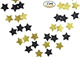 Glitter Black and Gold Five Twinkle Stars Paper Decorations for Baby shower,Birthday party Wedding Party 6 PCS