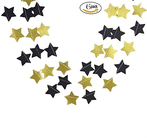 Glitter Black and Gold Five Twinkle Twinkle Little Star Decorations Paper Decorations for Baby Shower,Birthday Party Wedding Party 6 PCS ...