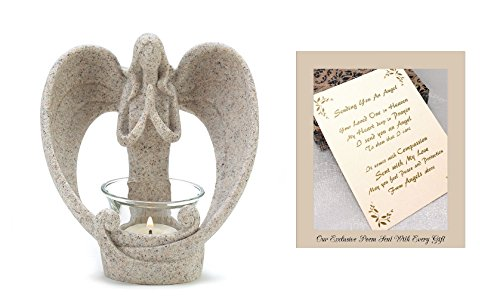 Sending You an Angel Candle Holder to Express Sympathy for Funeral Or Memorial Comfort The Grieving for Loss of A Loved One ()