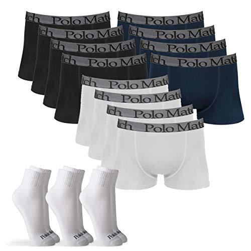00e11501f Kit 12 Cuecas Boxer De Cotton 3.0 Com 3 Pares De Meia Cano Médio Branca M - Polo  Match - Branco preto marinho - P ...