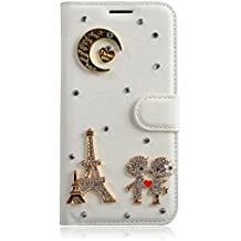 Alcatel A3 XL Case,Gift_Source [Card Slot] [Folio Flip] Luxury 3D Bling Crystal Rhinestone PU Leather Magnetic Wallet Case Kickstand Cover for Alcatel A3 XL (6.0 inch) [Eiffel Tower]