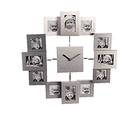 Out of the blue Aluminium Wall Clock With 12 Photo Frames Family ...