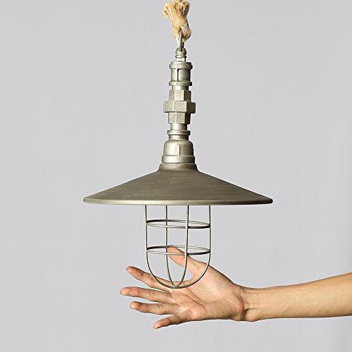 Retro Edison Pendant Light, 1 Light Semi Flush Mount Ceiling Light, Industrial/Country Style Pendant Lamp, Galvanized Steel Finish by Chrasy (Image #2)