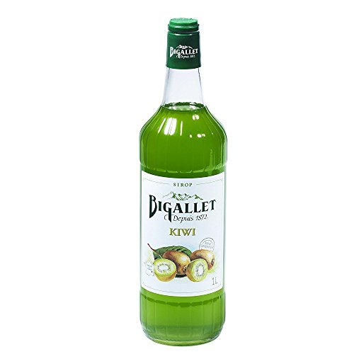 Bigallet Syrup - Produced at the Foot of the French Alps - Non-GMO, Vegan Friendly, No Preservatives - A Full 1 Liter Bottle (Kiwi - -
