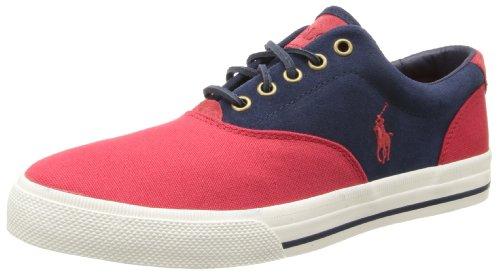 Polo Ralph Lauren Men's Vaughn Saddle Fashion Sneaker,Red/Navy/Red,9.5 D (Polo Ralph Lauren Saddle)