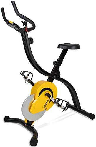 JOROTO Folding Magnetic Upright Exercise Bike with Pulse – Sitting Standing Indoor Cycling Stationary Bike