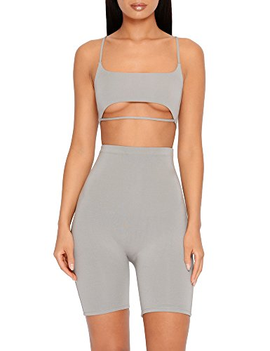 Womens Strap Cut Out Tracksuit 2 Piece Outfits Sexy Crop Tops and Skinny Long Pants Jumpsuit - Piece 2 Set Sultry