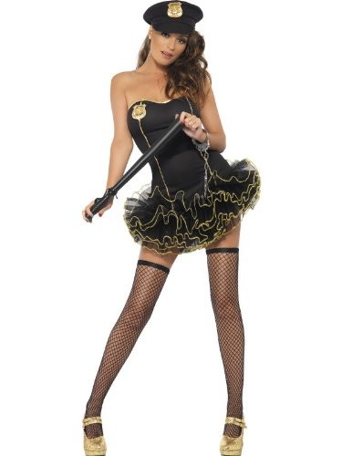 Smiffy's Women's Fever Tutu Police Costume, Tutu Dress with Detachable Clear Straps and Hat, Cops, Fever, Size 6-8, (Halloween Costumes Cop Woman)