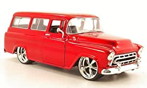 Chevrolet suburbano, rojo , 1957, Modelo de Auto, modello completo, Jada 1:24