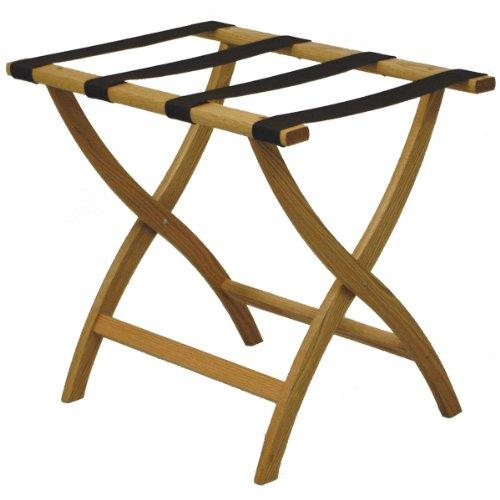 Oak Luggage Rack (Folding Solid Oak Deluxe Luggage Rack w Four Support Straps (Medium Oak with Brown Webbing))