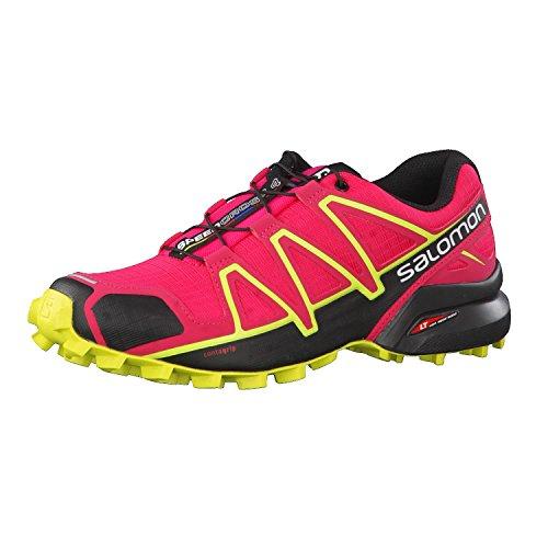 Salomon Signore Speed cross 4 W Scarpe Da Trail Running, Verde, Rosa 38 Eu (virtuale Colore Rosa / Nero / Sulphur Spring 000)