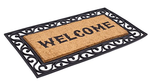 Border Black Rug Scroll - BirdRock Home Western Welcome Brush Coir Doormat with Rubber Scroll Border | 20 x 36 Inch | Welcome Mat with Black Decorative Border | Natural Fade | Outdoor