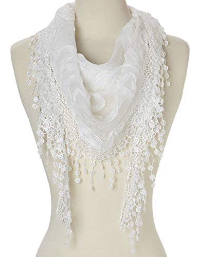 tweight Triangle Floral Fashion Lace Fringe Scarf Wrap for Women (White) (White Scarf)