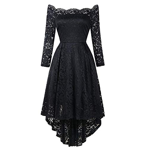 Leomodo Ladies'Dress with One Shoulder High and Low Lace Dress Black