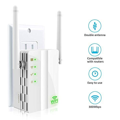 WiFi Range Extender, Wsiiroon 300 Mbps Mini Wireless WiFi Repeater WPS Internet Signal Booster with External Antennas, 360 Degree Full Coverage, Compatible with Alexa, Extend WiFi to Smart Home Device