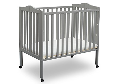 Delta Children Folding Portable Mini Crib with Mattress, Grey