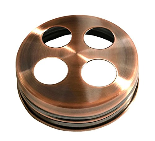 Metal Regular Mouth Toothbrush Holder Lid for Masons Jars, Copper