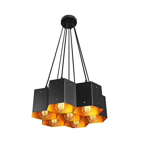 (Unitary Brand Modern Black Metal Cellular Modeling Dining Room Large Pendant Lighting with 7 E26 Bulb Sockets 280W Painted Finish)