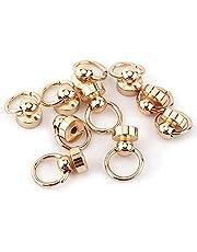 GLOGLOW 10 stuks massief messing ronde knopjes, fopspeen vorm klinknagel studs schroef terug ronde ring lederen ambachten accessoires goud
