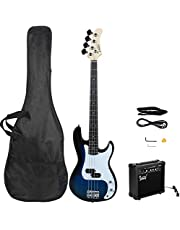 $149 » GLARRY Full Size Electric Bass Guitar Beginner Kit 4 String Exquisite Basswood Bass with 20W AMP, Cable, Strap, Bag and Accessories (Dark blue)