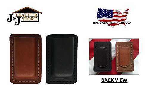 J&J PREMIUM LEATHER 45 CAL SINGLE STACK MAGAZINE POCKET HOLDER POUCH/BELT LOOP CARRIER HOLSTER (BLACK)