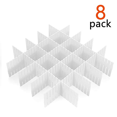 - 8 Pcs Plastic DIY Grid Drawer Divider Household Necessities Storage Thickening Housing Spacer Sub-Grid Finishing Shelves for Home Tidy Closet Stationary Socks Underwear Scarves Organizer (White)