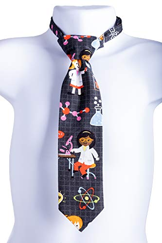 Bailey Bug Baby and Toddler STEM Science Necktie on Black Unisex for Girls and Boys (Large 2-3 Years) with adjustable neck