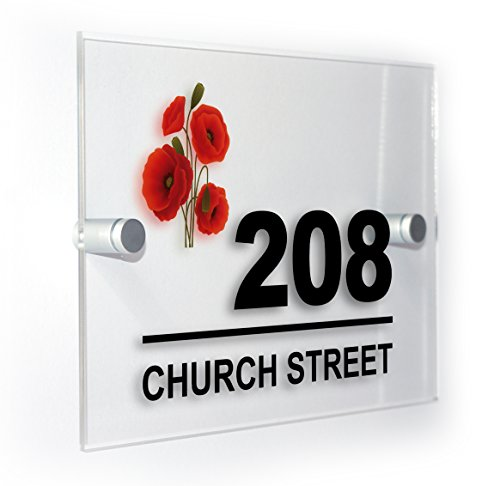 Poppies Printed Modern (Poppies Poppys Modern Style Personalised House Flat Number Plaque Full Colour Sign Outdoor Use Weatherproof Market Leading Print)