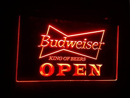 A113-r Open Budweiser Beer Nr Pub Bar Neon Light Signs