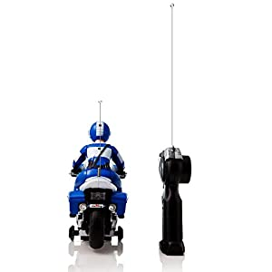 White and Blue Speed Demon Electric Radio Remote Controlled Police Motorcycle with Driver, Lights & Sound Effects by Dimple