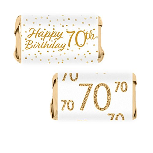 70th Birthday Party Miniatures Candy Bar Wrapper Stickers - White and Gold (54 Count) (Birthday Candy Wrappers)