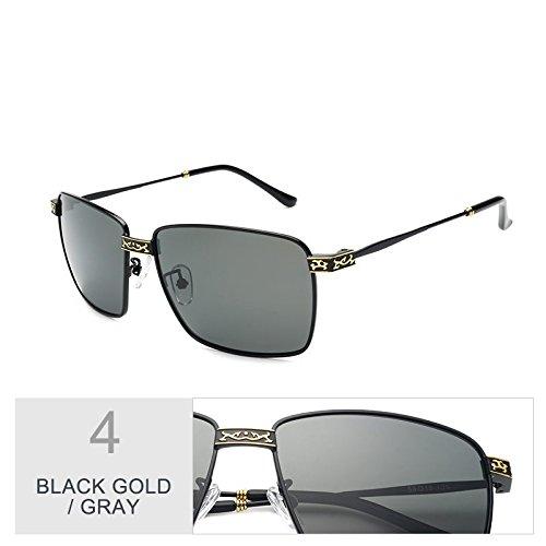 gafas sol Revestimiento TL Silver gafas Gray Sunglasses hombre Black gris lentes de Polaroid Vintage polarizadas por de el oro Guía UV400 negro wSxPrXqx