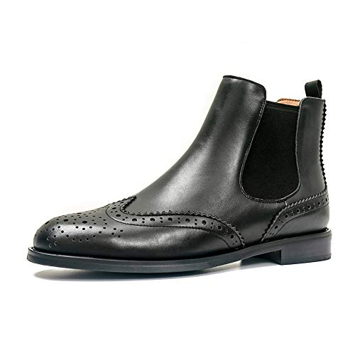 Chelsea Beatle Boots (ONEENO Women's Brogue Black Leather Chelsea Boots 9 M)